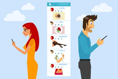 telefono caricatura: El hombre y la mujer est�n enviando mensajes de texto y enviar fotos a la otra en las redes sociales