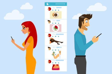 smart girl: Man and woman are texting and sending photos to each other in social networks Illustration