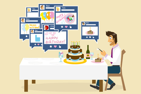 adult birthday party: Man is celebrating his birthday alone and chatting with friends in social networks
