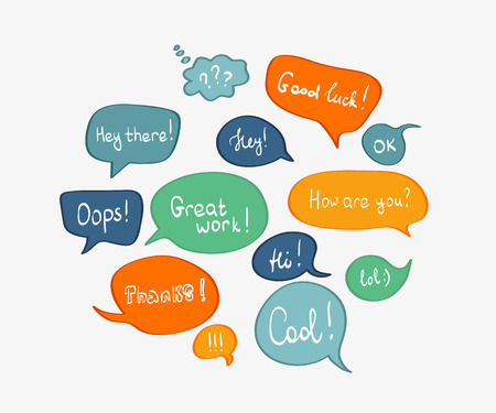 oops: Speech bubbles in different colors isolated on white