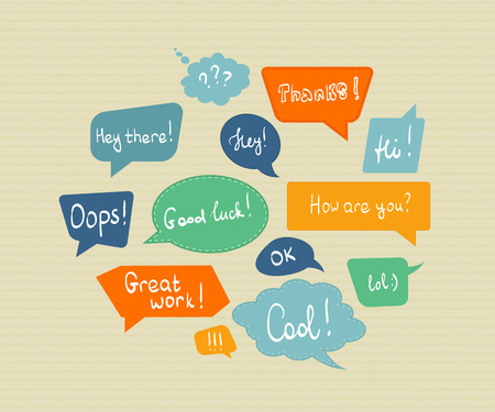 oops: Speech bubbles in different colors isolated on textured paper
