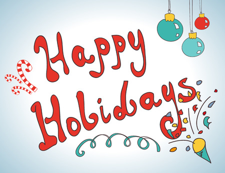 upscale: Happy holidays postcard hand drawn design for christmas Illustration