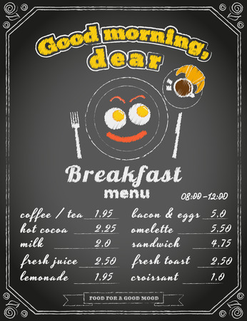 yesteryear: Breakfast menu on the chalkboard. Text outlined. Free fonts -  Bevan, Lobster, Yesteryear Illustration