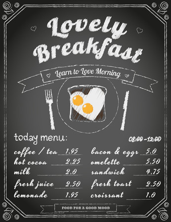yesteryear: Breakfast menu on the chalkboard. Text outlined. Free fonts -  Lobster, Yesteryear