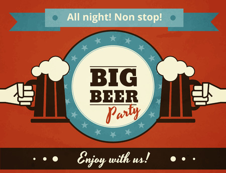 Textured poster of big beer party. Text outlined. Free fonts - Bevan, Yesteryear, Open Sans Vector