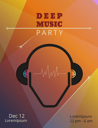 rave: Geometric deep music party poster. Text outlined. Free fonts - Bevan, Open Sans