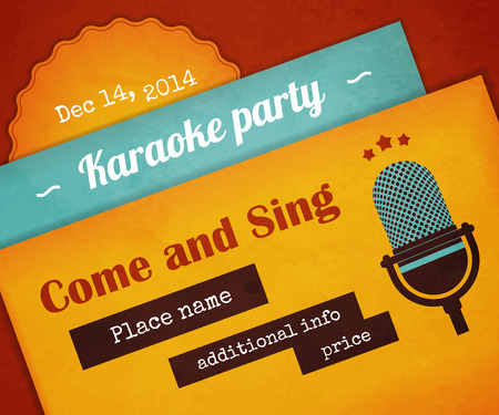 Textured poster karaoke party with microphone. Text outlined. Free fonts - Lobster, Ultra, Special Elite Vector