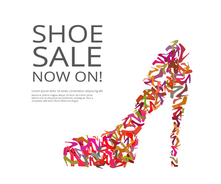 Fashion poster of women multi color shoes on white background. Text outlined