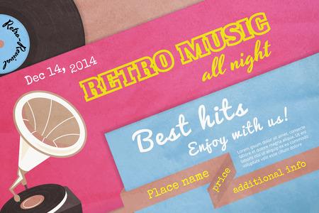 yesteryear: Cartel de la m�sica retro con textura con el gram�fono. Texto esboz�. Fuentes Gratis - Alfa Slab Uno, anta�o, Pacifico Regular, Especial Elite