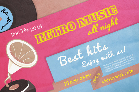 party dj: Textured poster retro music with gramophone. Text outlined. Free fonts - Alfa Slab One, Yesteryear, Pacifico Regular, Special Elite