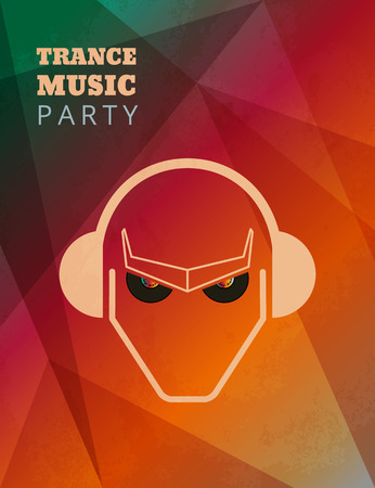 party dj: Textured trance music party poster. Text outlined. Free fonts - Bevan, Open Sans