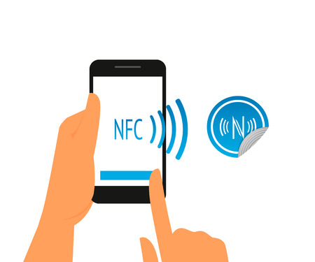 Vector illustration of smartphone with nfc function and mobile tag Vector