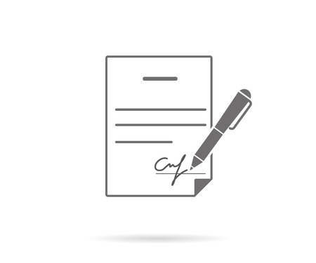 Business contract with signature. Flat vector icon