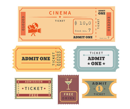 レトロなチケットを設定します。Temlate ベクトル イラスト映画館やその他のイベント。説明テキスト