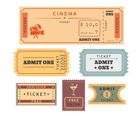 Retro Tickets eingestellt. Temlate Vektor-Illustration für Kino und andere Veranstaltungen. Text skizziert