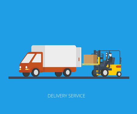 Flat concept illustration of delivery truck with forklift loading pallet with box