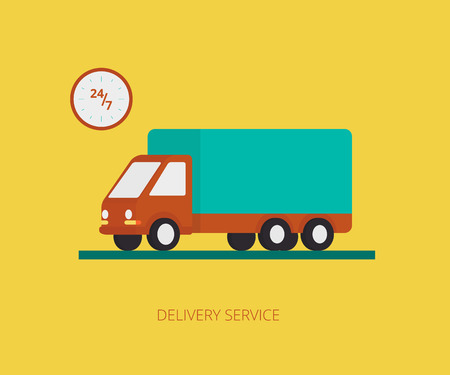 Flat concept illustration of delivery truck on yellow background with wallclock Vector