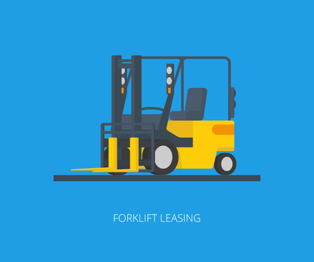 Flat conceptual illustration of yelllow forklift on blue background