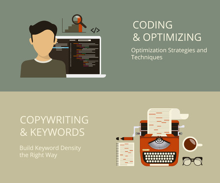 seo process: Infographic flat concept process of coding and copywriting as a part of SEO