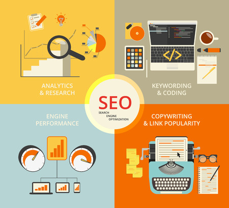 keywords link: Infographic flat concept illustration of SEO. 4 items described