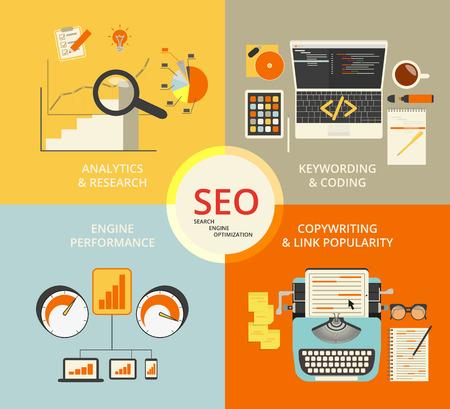 keywords link: Infographic flat concept illustration of SEO. 4 items described