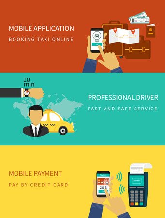ordering: Flat vector illustration concept process of booking taxi via mobile app