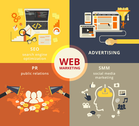 pr: Infographic flat conceptual process illustration of web marketing