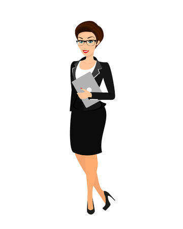 confidant: Business woman wearing black suit. Isolated on white