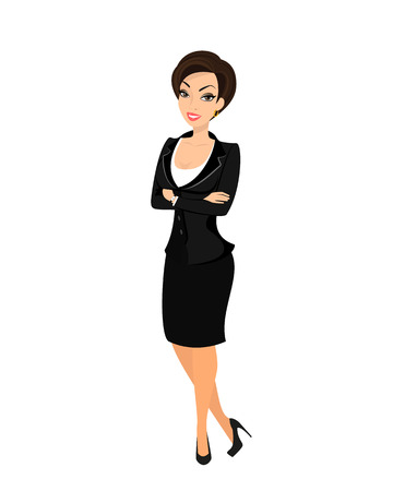 Mujer de negocios llevaba traje negro. Aislado en blanco