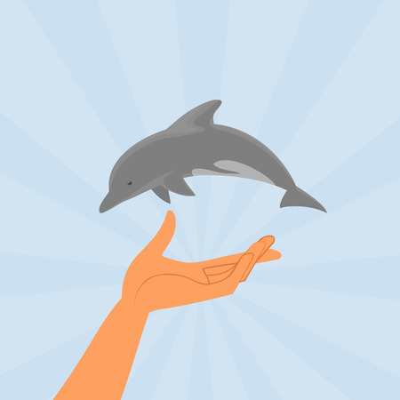 conceptual illustration of small dolphin over human hand Vector