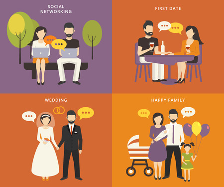 at first: Family with children kids people concept flat icons set of social networking and flirting, first date, wedding and parenting