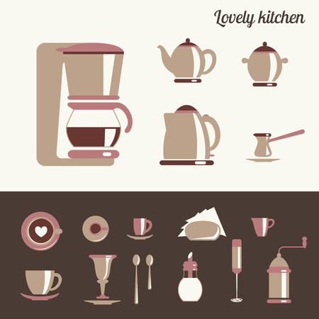 Kitchen conceptual set of utensil for coffee and tea on black and white background Vector