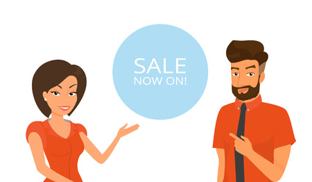 Man and woman are showing advertising banner with sale Vector