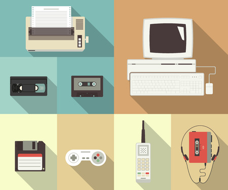 the nineties: Back to nineties vector conceptual flat set of printer, computer, video cassette, floppy disk, telephone and player with headset Illustration