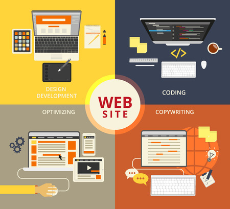 Infographic flat concept illustration of website building Vector