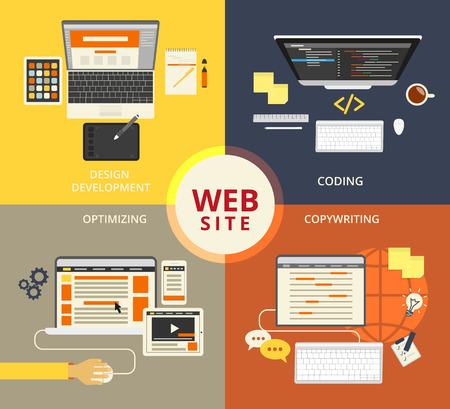 keywords link: Infographic flat concept illustration of website building