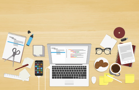 Realistic workplace organization. Top view with textured table, laptop, connected smartphone, notepad, stickers, glasses, cd disk, diary and coffee mug Illustration