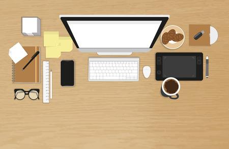 Organisation du travail réaliste. Vue de dessus avec table texturé, ordinateur, smartphone, tablette graphique, autocollants, verres, Lecteur CD, journal et tasse de café