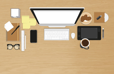Realistic workplace organization. Top view with textured table, computer, smartphone, graphic tablet, stickers, glasses, cd disk, diary and coffee mug
