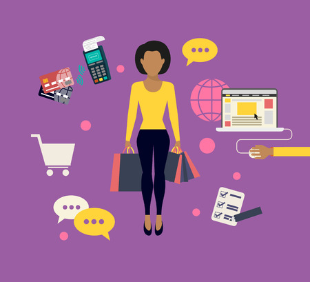 shopping bag icon: Flat modern concept illustration of woman doing shopping online Illustration