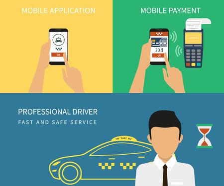orden de compra: Ilustración vectorial concepto de proceso plana de reserva de taxi a través de aplicaciones móviles Vectores