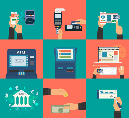 バンキング: 支払方法クレジット カード、nfc モバイル アプリ、atm、ターミナル、ウェブサイト、銀行振込、現金、請求書などの平らな概念ベクトル イラスト セット  イラスト・ベクター素材