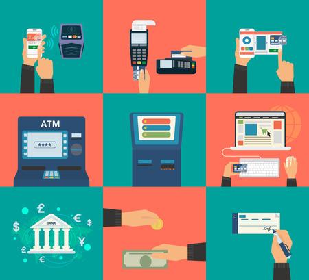 Concepto ilustraciones vectoriales planos conjunto de métodos de pago como tarjeta de crédito, nfc, aplicación móvil, cajeros automáticos, terminales, página web, transferencia bancaria, efectivo y factura