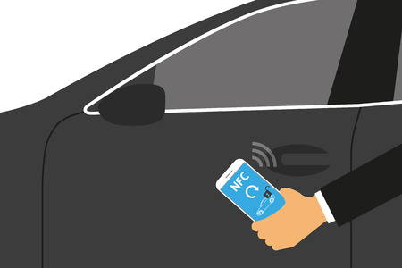 nfc: Vector illustration of mobile unlocking a car via smartphone.