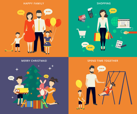spending: Family with children kids people concept flat icons set of parenting, shopping, time spending and christmas celebrating