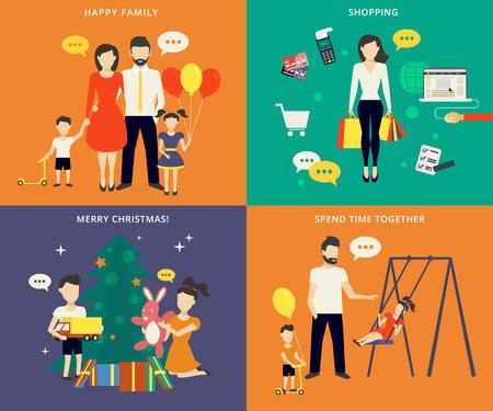 Gezin met kinderen kids mensenconcept vlakke pictogrammen instellen van het ouderschap, winkelen, tijdsbesteding en kerst vieren