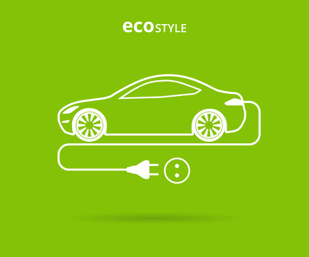 clean  electric: Vector illustration of electro car green icon. Line thickness fully editable