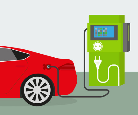 mpg: Vector illustration of charging red electric car
