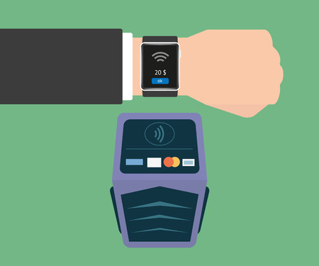 nfc: Vector illustration of functionality electronic intelligence wristwatch for payment Illustration