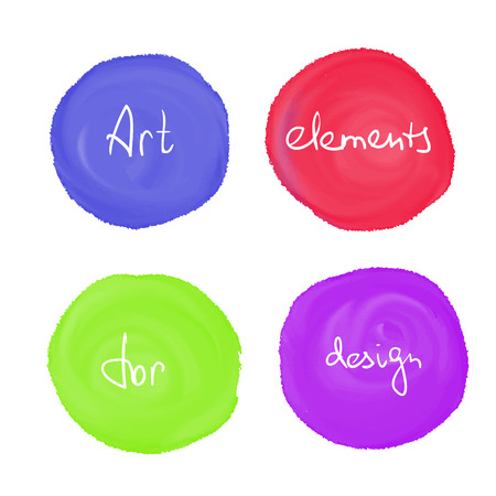 color drops: Circle paint drop set for design - four elements blue, red, green and violet color